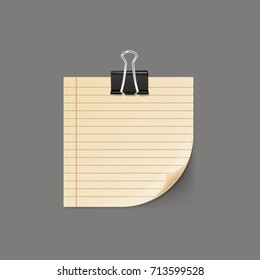 Sticky note with curled corner isolated on background. Vector illustration.