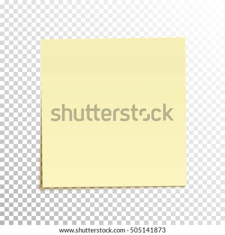Sticky Note Isolated On Transparent Background Stock Vector (Royalty ...