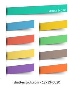 Sticky note . Multicolor and inserted floating paper design . Vector .