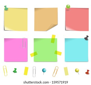 sticky note paper isolated on white background, vector illustration