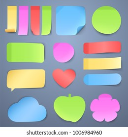 Sticky note papers, memo stickers vector collection. Illustration of colored memo paper blank sticky