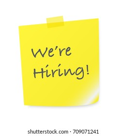 Sticky note with text we're hiring for HR recruitment (talent acquisition) process