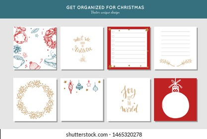 Sticky Note vector collection for Christmas and new year preparation. Get organized for christmas.