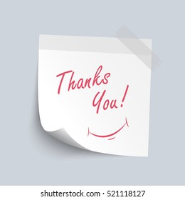 Sticky note white  paper with  thank you  red color word isolate on white background, vector illustration