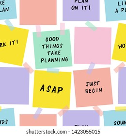 Sticky notes cartoon vector seamless pattern. Reminders, notifications hand drawn texture. Paper sheets