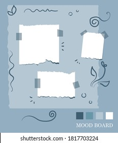 Sticky notes floral style palette, pastel blue shades color mood board template. Modern brand design. Decorative vector collage composition for presentation and photo frame
