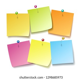 Sticky notes with pins. Wall post pin note set vector illustration, colorful blank paper stickers pushing on white background