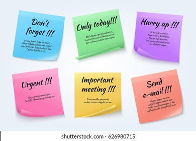 Sticky notes, urgent paper memo vector set. Color sticker banner with text remember only today and hurry up illustration