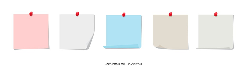 Sticky notes vector collection. Colorful sticky paper with red pin isolated on white background. Pin note, blank organization paper, office post sticky illustration