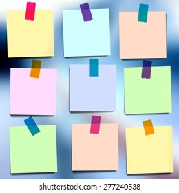 Sticky notes wallpapers on blurred vector background. Reminder colorful notes. Paper notes.