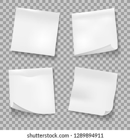 sticky notes. White memo reminder papers isolated vector, business office blank paper note stickies isolated on white background