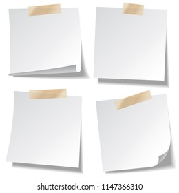 Sticky paper note with tape and shadow isolated on white background. Blank. Set.