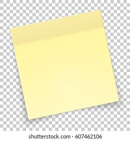 Sticky piece of yellow paper with shadow, sticker note for reminding, list, notice, info. Vector illustration isolated on transparent background.