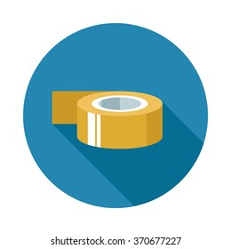 Sticky tape in retro colors with long shadow. Flat image illustration