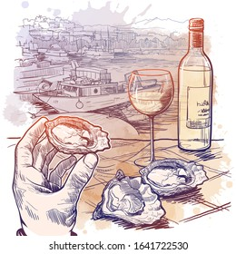 Still life drawing witha a hand holding oyster a bottle of white wine and a couple of oysters laying on a table. Panorama of La Spezia, Italy. Sketch on a watercolor textured background. EPS10 vector