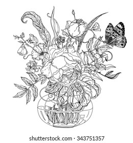 Still life with flowers in the style of the old Dutch masters in zentangle interpretation. Black and white. Vector illustration. The best for your design, textiles, posters, coloring book
