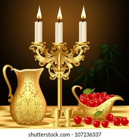 still life with gold(en) dishes candle and wine