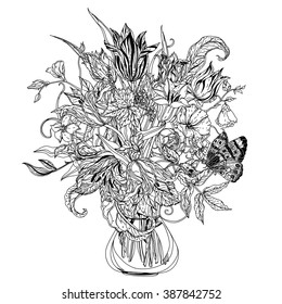 Still life with tulips, style of the old Dutch masters, Zentangle interpretation. Black and white. Vector illustration. The best for your design, textiles, posters, adult coloring book