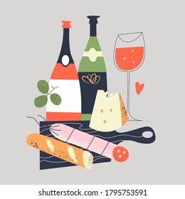Still-life. Bread, salami, cheese on a black chopping Board. A few bottles of wine and a glass of red wine. Vector illustration in a flat style on a gray background.