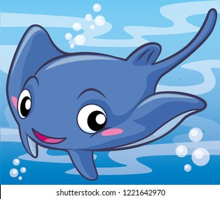 stingray cartoon, cartoon cute, animal cute