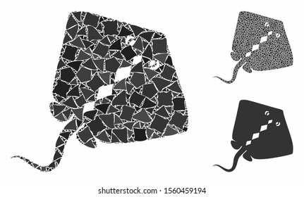 Stingray fish composition of tremulant pieces in variable sizes and color tints, based on stingray fish icon. Vector rugged pieces are grouped into composition.