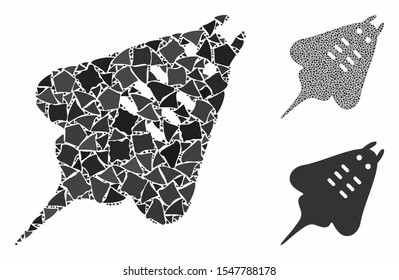 Stingray fish mosaic of abrupt parts in different sizes and color tinges, based on stingray fish icon. Vector abrupt parts are grouped into collage. Stingray fish icons collage with dotted pattern.