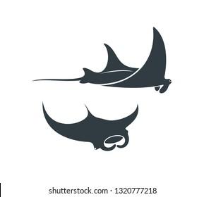 Stingray logo. Isolated stingray on white background. Manta.  EPS 10. Vector illustration