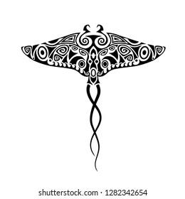 Stingray Manta in the Maori style. Tattoo sketch