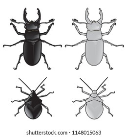 stink, bug, art, vector