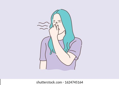 Stink, smell, disgust concept. Young unhappy dissatisfied woman covers nose with hands, showing disgust. Disappointed unhappy girl feels disgust because of awful smell and stink. Simple flat vector