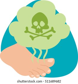 Stinky feet. Green cloud with skull and crossbones. Smell. Isolated symbol. On white background.