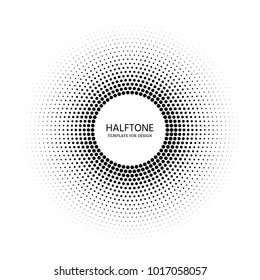 Stipple vector texture round gradient with dots. Halftone circle template for design.  Comic dark distribution circles background for text.