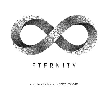 Stippled Eternity sign. Mobius strip symbol. Vector textured illustration on white background.