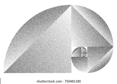Stippled Fibonacci Spiral - Vector Op Art