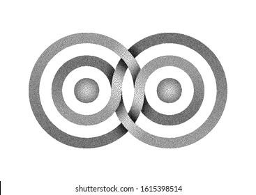 Stippled Infinity symbol made of intertwined bands. Stylized Interference concentric waves. Vector illustration isolated on white background.