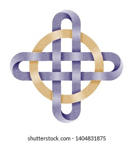 Stippled ringed cross. Celtic knot with circle symbol made of intersected strips. . Vector textured illustration isolated on white background.