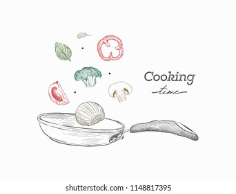 Stir fry. Cooking process vector illustration. Flipping Asian food in a pan.