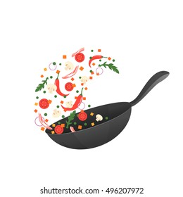Stir fry. Cooking process vector illustration. Flipping Asian food in a pan. Cartoon style. Flat