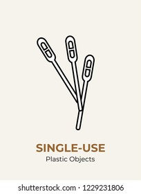 Stirrer single-use plastic cutlery. Vector illustration set of recycling plastic items. White food plastic stirrer flat logo for ecological poster, postcard, banner, pollution and environment concept.