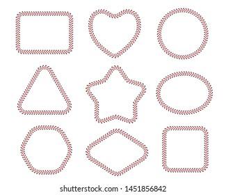 Stitch border brushes. Vector set
