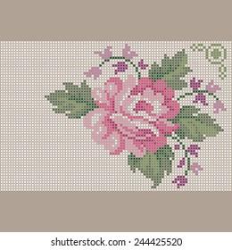 Stitch Cross rose