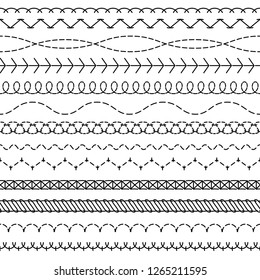 Stitch lines. Stitched seamless pattern threading borders sewing stripe fabric thread zigzag edges sew embroidery textile vector concept