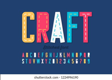 Stitched font, running stitch, alphabet letters and numbers vector illustration
