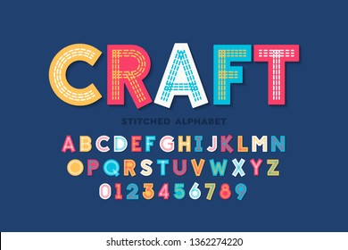 Stitched font, triple stitch, alphabet letters and numbers vector illustration