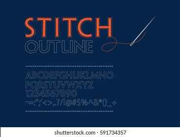 Stitched fonts outline. Alphabet A-Z, numbers and punctuation marks.