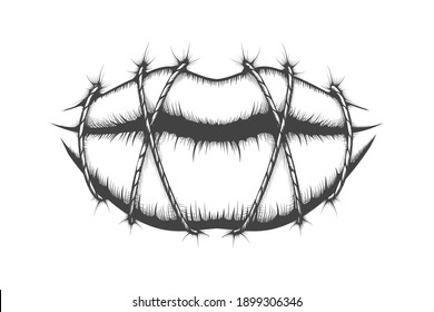 Stitched Lips drawn in Tattoo style. Silence concept. Vector illustration.