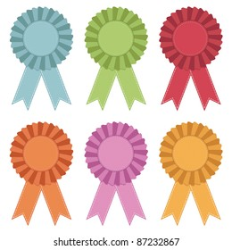 stitched rosettes with ribbons, no gradients isolated on white