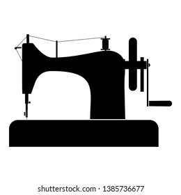 Stitching machine Sewing machine Tailor equipment vintage icon black color vector illustration flat style simple image