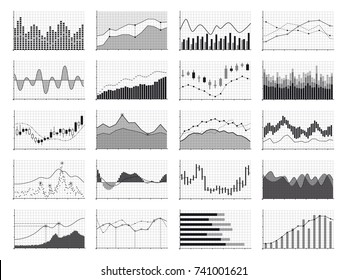 Stock analysis graphics or business data financial charts isolated on white background. Chart and graph, financial diagram growth and progress, vector illustration