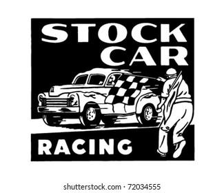 Stock Car Racing - Retro Ad Art Banner